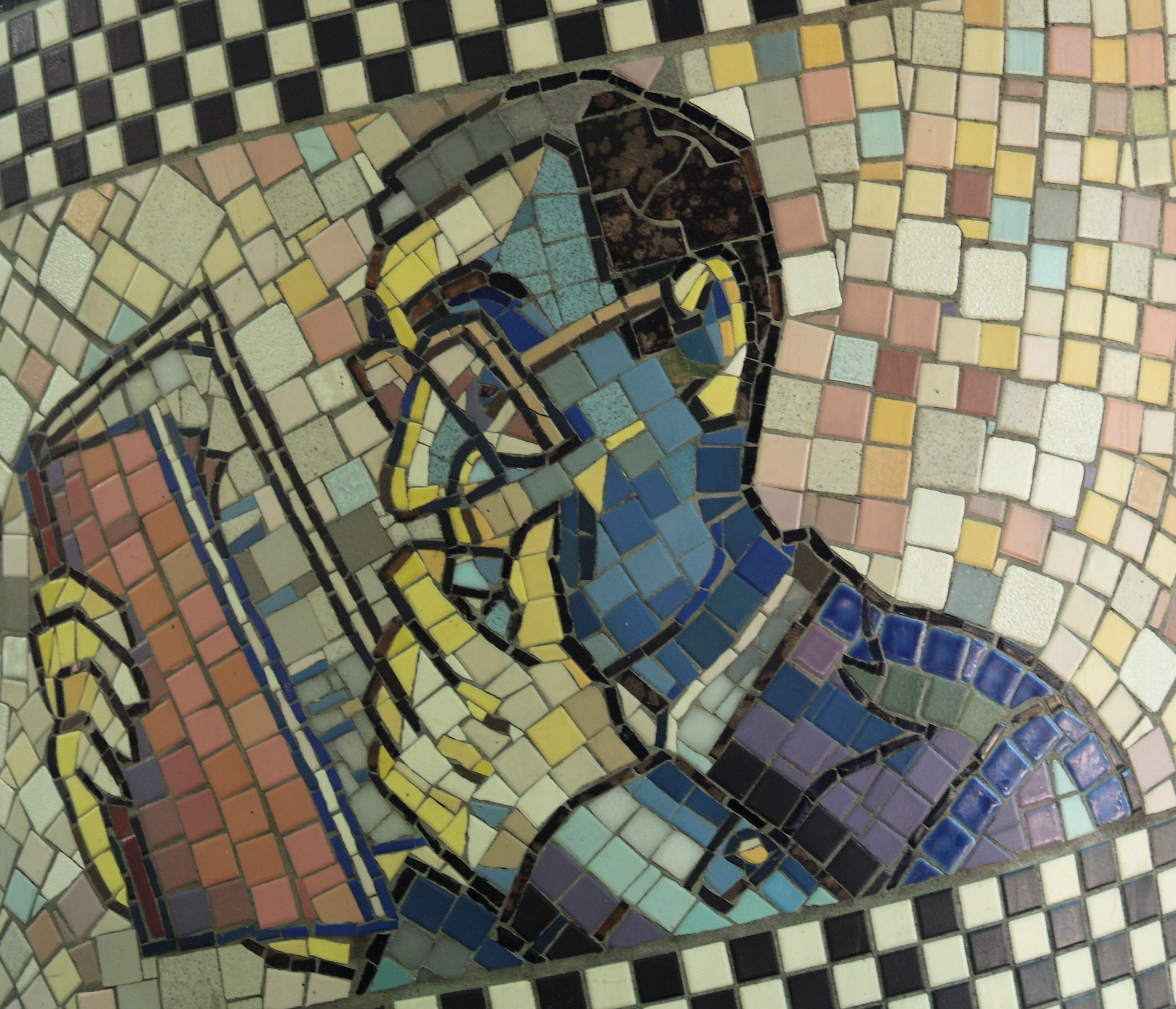 "Reading Man Detail, George F. Fishman's 1991 Mosaic ""Faces Of Flower Avenue"" (Silver Spring, MD)"