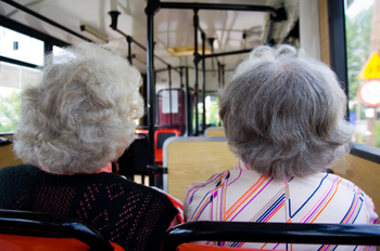 women on a bus